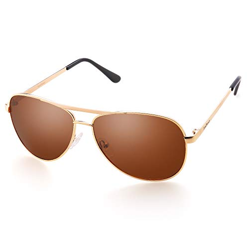 LotFancy Polarized Aviator Sunglasses for Men with Case, UV400 Protection, 61MM, Lightweight Eyewear for Driving Fishing Sports, Brown Lens, Gold Metal ()