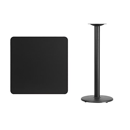 30'' Square Black Laminate Table Top with 18'' Round Bar Height Table Base