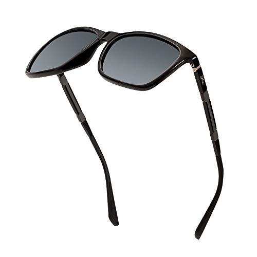 Men's Polarized Driving Sunglasses Retro Square Aluminum magnesium Alloy Temple Sun Glasses Unbreakable Spring Hinges Eyewear UV400 (Grey Lens/BrightBlack Frame)