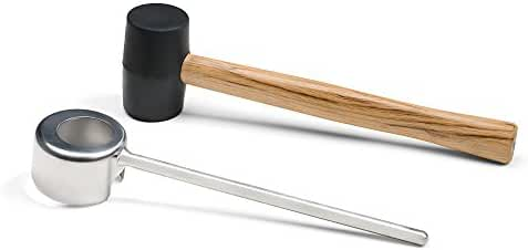 Coconut Opener Set by Hamilton Coconut - Trimmed Coconut Opener - Food Safe Stainless Steel - Black Plastic Mallet with Wooden Handle - Strong Durable and Long-Lasting.