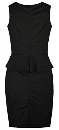 Eyekepper Bodycon Midi Vestido del Lápiz de Vestir Para Trabajo de Volante de Cuello Redondo de Las Mujeres Negro