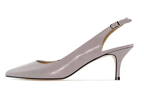 Soireelady Women's Kitten Heel Court Shoes Closed Pointy Toe Slingback Pumps Gray VU8lRk1Qs