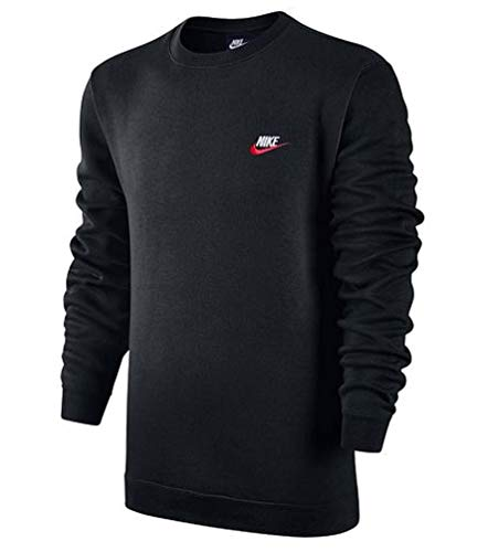 Nike Men's Sportswear Crew Sweatshirt Black/University Red/White (Small) by Nike (Image #1)