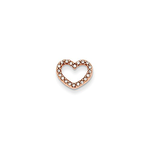 Roy Rose Jewelry 14K Rose Gold 0.08-Carat tw Diamond Heart Slide Pendant