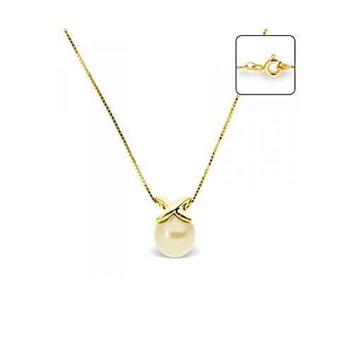 Collier en Or Jaune 750/1000 et Perle de Culture Dorée -Blue Pearls-BPS K011 W