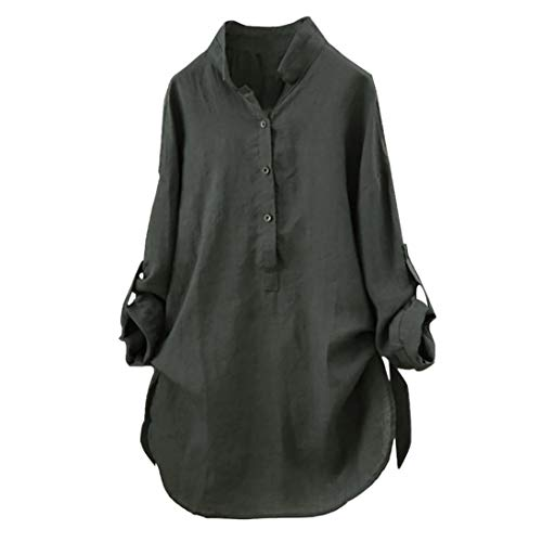 Franterd Plus Sizes Blouse Women Cotton linen Solid Button Down Long Sleeve Work Shirt Long -