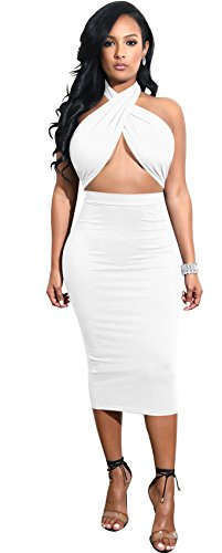 - Arctic Cubic Sexy Sleeveless Halterneck Ruched Cross Wrap Front Cut Out Tie Back Highwaist Midi Bodycon Dress White L