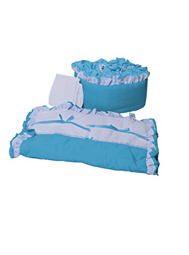 (Baby Doll Bedding Regal Cradle Bedding Set, Aqua)