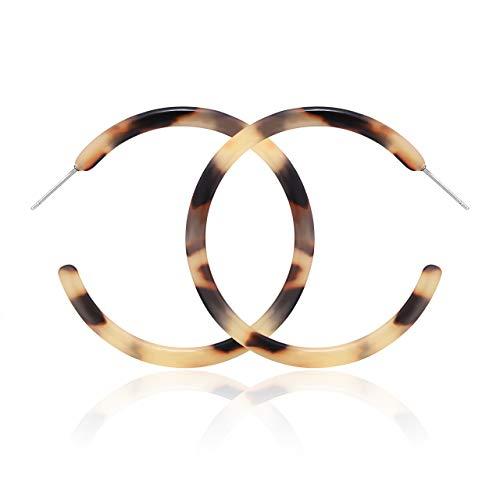 NLCAC Acrylic Hoop Earrings Marble Tortoise Shell Circle Resin Earrings Ear Drop Dangles (Leopard Large) ()