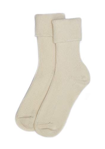 Ladies Cashmere Sock in White Made In Scotland