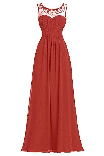 Beyonddress Damen Hochzeit Rot Lang Abendkleider Perlen Chiffon Brautjungfernkleider Ballkleider 6v6PqH