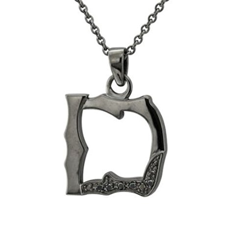 Men's Black Sterling Silver Alphabet Initial Letter D Black Diamond Pendant Necklace (0.06 Carat) (Initial Pendant 0.06 Ct)