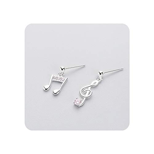 Pink Cottage Chic Crystal - Unique 925 Sterling Silver Drop Earrings Cute Music Note Chic Pink Crystal Accessories For Girl Gift