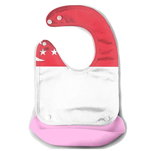 NKZSUX Singapore Flag Baby Bibs Removable Bib Easily Wipes Toddlers Soft Feeding Bibs Food Catcher Pocket Baby Gifts