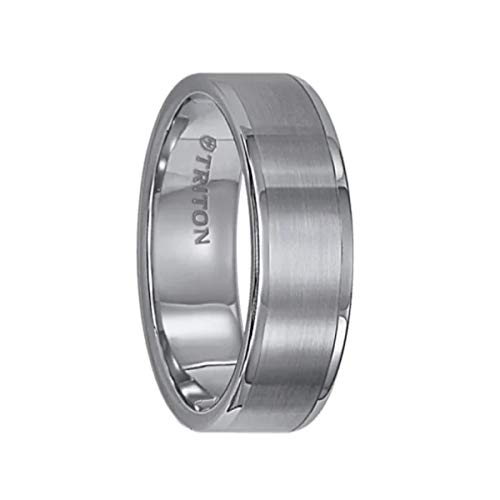 Triton Ring Tungsten Carbide Satin Finish Flat Center with Bright Polish Round Edges Comfort Fit Wedding Band