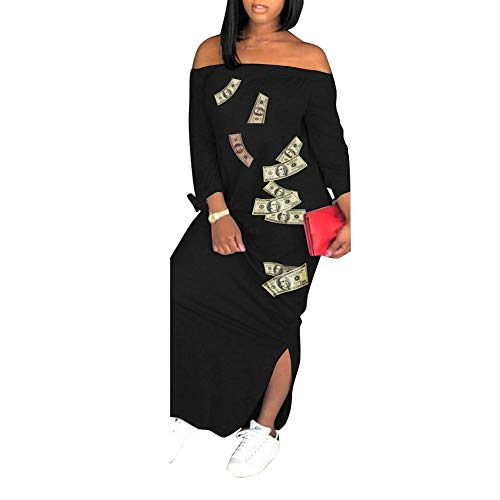 (Women's Summer Color Block Half Sleeve Split Loose Shift Maxi Dress)