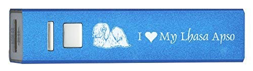 Portable 2600 mAh Portable Cell Phone Charger-I love my Lhasa Apso-Blue