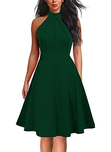 Berydress Women's Sleeveless Halter Neck A-Line Casual Party Dress (M, 6012-Dark Green)