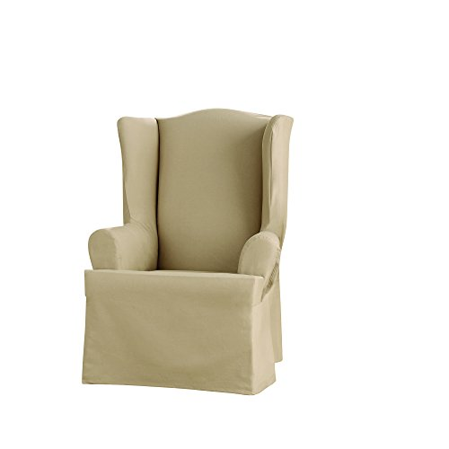 Sure Fit Heavyweight Cotton Duck Wing Chair Slipcover - Khaki