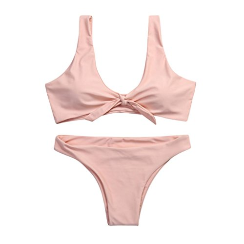 IMJONO.Frauen verknotet Padded Thong Bikini Mitte Taille Scoop Badeanzug Strand Bademode Rosa EM2VD