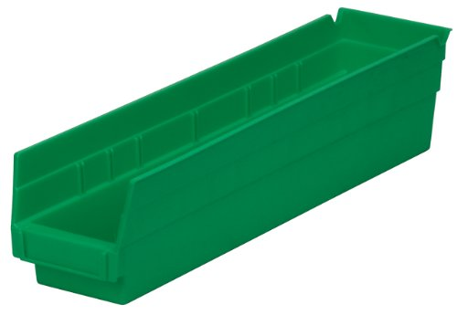 Akro-Mils 30128 18-Inch by 4-Inch by 4-Inch Plastic Nesting Shelf Bin Box, Green, Case of 12 ()