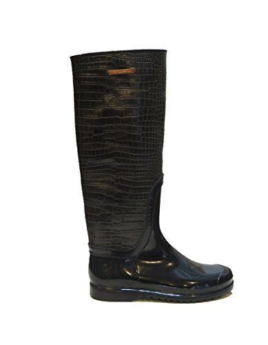 Dolce & Gabbana Italy Woman's Gold Crocodile Leather Rubber Rainboots Boots 8 by Dolce & Gabbana