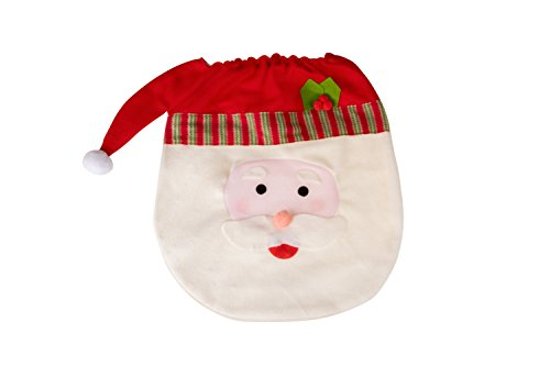 Santa Claus Christmas Themed Toilet Seat Lid Cover | Elastic Band for Quick and Easy Installation | Santa Claus' Face and Hat Holiday Decor Theme | Measures 14