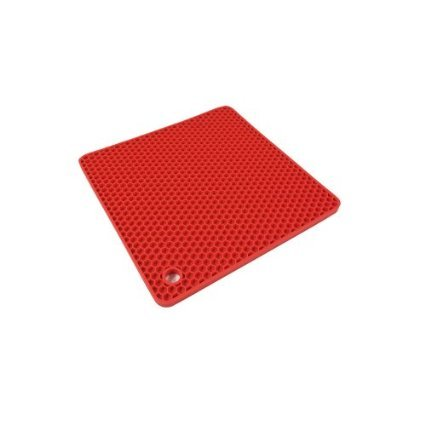 Set of 2 Pieces Silicone Grid Pot Holder & Mat (Red) By Agora Silicone