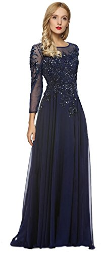 (Meier Women's Starlit Beaded Long Sleeve Mother of The Bride Evening Gown Size 16W Navy)