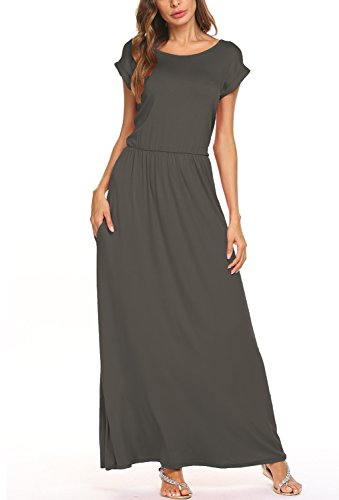 Long Khaki - BLUETIME Women's Short Sleeve Maxi Dress with Pockets Plain Loose Pleated Swing Casual Long Dresses (Khaki, S)