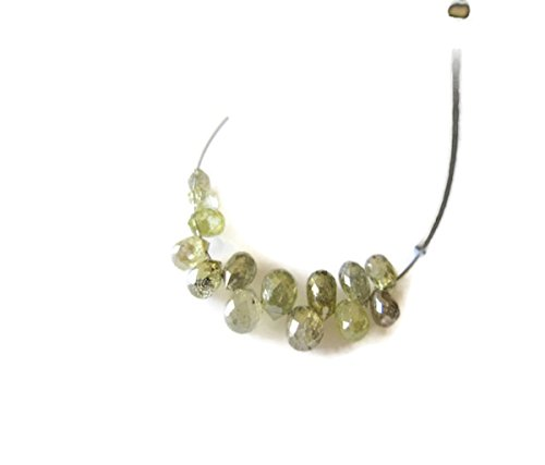 5 Pieces Rare One Of A Kind Natural Clear Green Diamond Briolette Beads, Green Diamond Faceted Tear Drop Beads, Dds477
