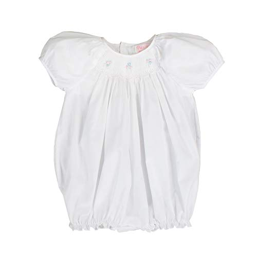 Petit Ami Baby Girls' Hand-Embroidered Smocked Bubble with Pearls, Newborn, - Smocked Bubble