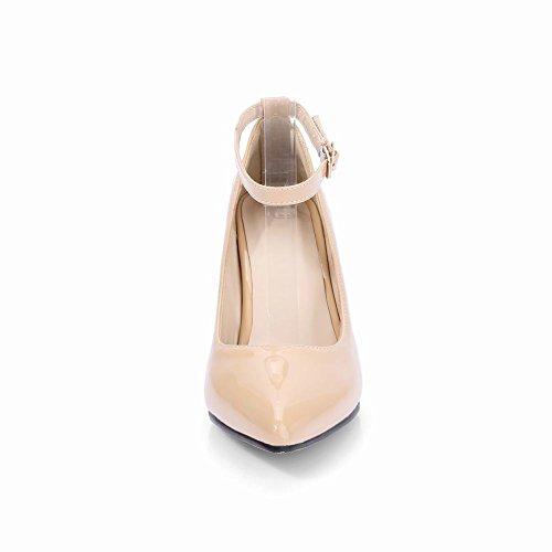Mee Shoes Damen ankle strap hocher Absatz Lackleder Pumps Aprikose