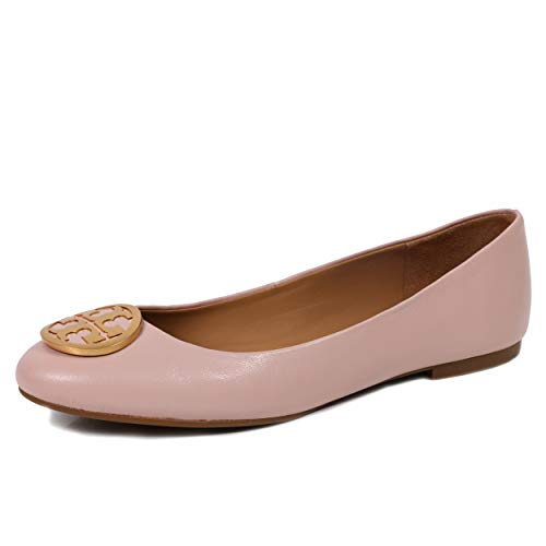 (Tory Burch Benton Ballet Flat Nappa Leather Shoes (8, Sea Shell Pink))