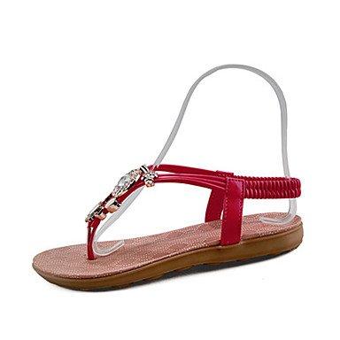 LvYuan Mujer-Tacón Plano Tacón Cuña-Confort-Sandalias-Exterior Vestido Informal-PU Tul-Negro Blanco Red