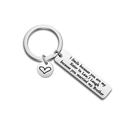 WUSUANED Sister/Brother in Law Keychain I Smile Because You're My Sister/Brother in Law Wedding Gift for Bride Groom (Sister in Law Keychain) (Gifts For Your Brother And Sister In Law)