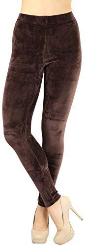 - ToBeInStyle Women's Luxuriant Velour Leggings - Brown - Medium