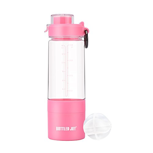 BOTTLED JOY Protein Shaker Bottle with 2-Layer Twist and Lock Storage Container - Tritan Lady Sports Protein Mix Fit Shaker Water Bottle 480ml 16oz 16 Ounce (Pink)
