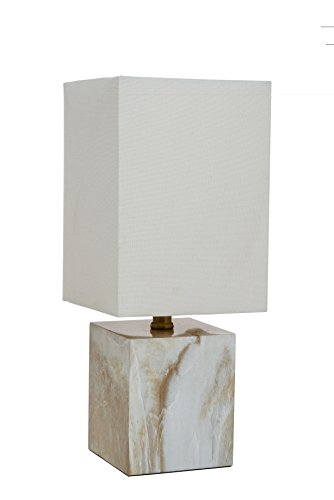 Catalina Lighting 20639-000 Blake Mosaic Accent Table Lamp with White Linen Square Shade, Medium, Faux Marble