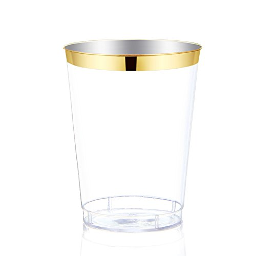 60Pack Gold Plastic Cups -9 oz Disposable Clear