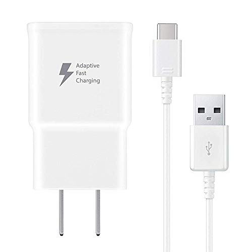 (Pantom Adaptive Fast Rapid Charging Wall Charger and Type C USB C Data Cable Kit Compatible with Samsung Galaxy S10/S10+/S9/S9+/S8/S8+ Note 8/Note 9 & Other Smartphones [White])