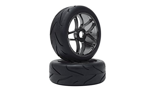 Price comparison product image VTEC Racing Slick 65571 – 1 / 8 Off-Road Buggy Complete Wheel with Tyre on Rim – 1 Pair,  Black / Chrome