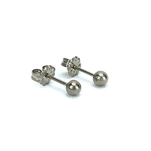 Titanium Ball 6mm Earrings (Titanium Ball Earrings - 6mm with Post 100% Hypoallergenic for Sensitive Ears (6mm))