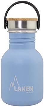 Laken Botella de Acero Inoxidable con Tapón de Rosca Acero y Bamboo y Boca Ancha