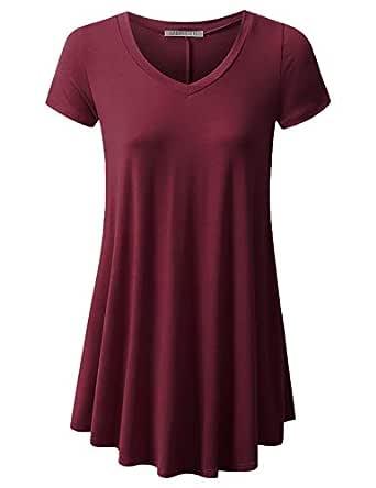 URBANCLEO Womens V-Neck Elong Tunic Top Mini T-Shirt Dress Burgundy Small