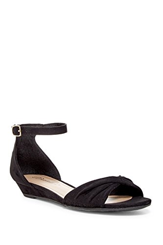Breckelles Women Twisted Ankle Strap Low Wedge Sandals (6, Black)