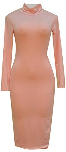 Neck Long Sexy High Pink Bodycon Solid Womens Cromoncent Dresses Club Sleeve wIqHZZ