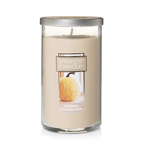 Yankee Candles Sugared Pumpkin Swirl Medium Perfect Pillar Candle Festive Scent