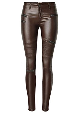 Brown Leather Motorcycle Trousers - 7