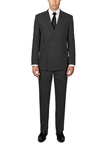 Alain Dupetit Mens Double Breasted Suit (Charcoal Grey, 42 Regular / 36 Waist)